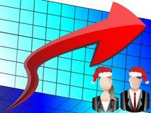 Christmas Business Chart and Avatars Illustration Stock Photo