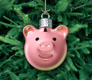 Christmas Business. Concept with a holiday tree ornament decoration shaped as a piggy bank over a green evergreen as a financial symbol of managing gift Stock Photos