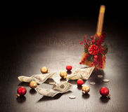 Christmas business decoration: dollars swept. With broom on dark background Royalty Free Stock Image