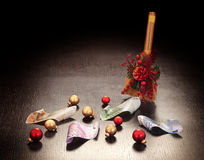 Christmas business decoration: euros. Swept with broom on dark background Royalty Free Stock Photo