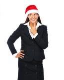 Christmas business santa woman thinking Royalty Free Stock Image