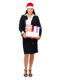 Christmas business woman with gifts Stock Photos
