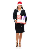 Christmas business woman with gifts Royalty Free Stock Photo