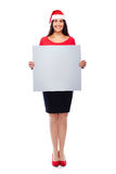 Christmas Business Woman holding Blank sign. Business woman with santa hat holding blank empty grey sign isolated on white Royalty Free Stock Images