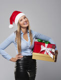 Christmas business woman Stock Images