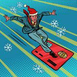 Christmas businessman and Bank card. Speed extreme sports stock illustration