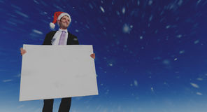 Christmas Businessman Holding Blank Placard Concept Royalty Free Stock Photo