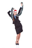 Christmas businesswoman dancing royalty free stock image