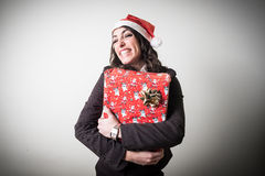 Christmas businesswoman with gift Royalty Free Stock Photography