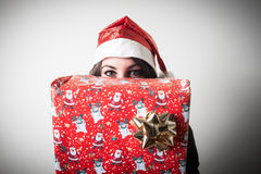 Christmas businesswoman with gift Stock Image