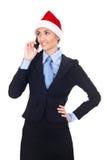 Christmas businesswoman talking on phone Stock Image