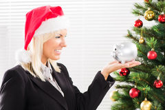 Christmas businesswoman Stock Images