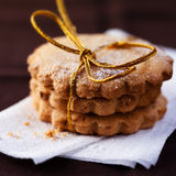 Christmas butter cookies. Pile of christmas butter cookies with powdered sugar Royalty Free Stock Image