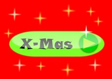 Christmas button. With title X-mas. It can be used for web pages Stock Image