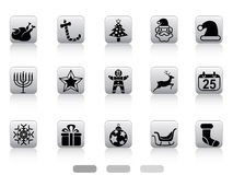 Christmas button icons Stock Photos