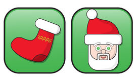 Christmas buttons. Santa Claus and Christmas stocking buttons or signs; isolated on white background Royalty Free Illustration