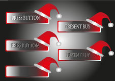 Christmas buttons. On the image is christmas buttons with cap stock illustration