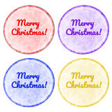 Christmas buttons set with bright border isolated on white. Royalty Free Stock Photos