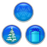 Christmas buttons, set Stock Photography