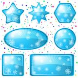 Christmas buttons snowflakes, set Stock Photo