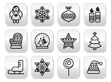 Christmas buttons with stroke - Xmas tree, angel, snowflake. Vector black buttons set for celebrating Xmas isolated on white Stock Photo