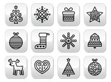 Christmas buttons with stroke - Xmas tree, present, reindeer Stock Photo