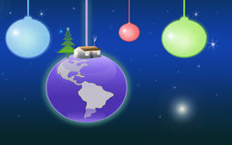Christmas c. Christmas ornaments hanging in space with landscape in background Stock Photo