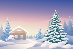 Christmas cabin. Illustration of a Christmas house Stock Image