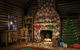 Christmas Cabin Interior. Interior of a cabin decorated for Christmas with a Christmas tree, presents and stockings hanging over the fireplace Royalty Free Stock Images