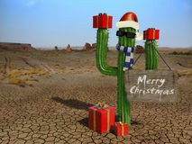 Christmas cactus. Very hugh resolution 3d rendering of a Christmas scene in the desert Royalty Free Stock Photography