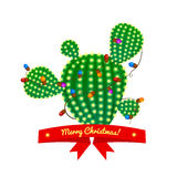 Christmas cactus tree, vector illustration Stock Images