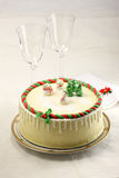 Christmas cake. With cute snowman on top Stock Image