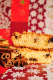 Christmas cake. Cinnamon sticks, star anise, and a perfect cake for Christmas Royalty Free Stock Image