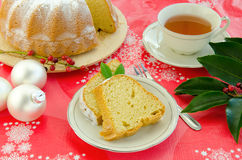 Christmas cake. With tea and baubles Stock Image