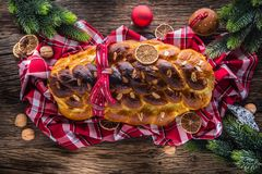Christmas Cake And Christmas Decorations. Christmas Cake, Slovak Stock Photos