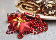 Christmas cake. With the bables and the gifts Stock Image