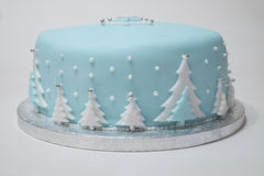Christmas Cake. A Christmas cake with blue icing. Christmas tree's decorate the outside of the cake Royalty Free Stock Images