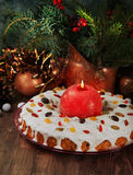 Christmas cake with candle Royalty Free Stock Images