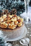 Christmas cake with caramelized nuts,chocolate and spices. Royalty Free Stock Image
