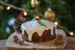 Christmas cake with christmas tree and ornaments royalty free stock photography