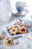 Christmas cake and cookies Stock Images