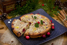 Christmas cake with cranberries and almonds Royalty Free Stock Photo