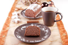 Christmas cake with cup of coffee Royalty Free Stock Photo
