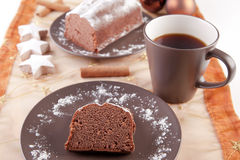 Christmas cake with cup of coffee Royalty Free Stock Photography