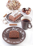 Christmas cake with cup of coffee. Picture of christmas cake on a dish and a cup of coffee/tea Royalty Free Stock Photography