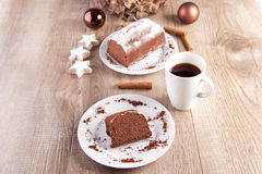 Christmas cake with cup of coffee Stock Photos