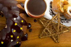 Christmas cake with a cup of hot chocolate Stock Photos