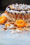 Christmas Cake Decorated with Fruits and Nuts Stock Photos