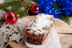 Christmas cake and decorations Stock Photos