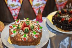 Christmas cake and dessert recipes 2018. Time to make your Christmas and Cake for happy time royalty free stock photo